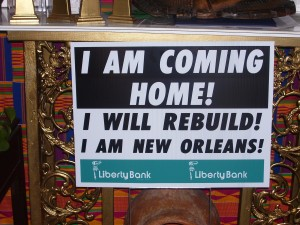"Liberty Bank ""Repopulation of New Orleans"" sign"