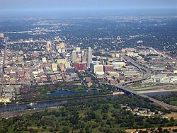 Omaha, Nebraska looking west from over Council Bluffs, Iowa