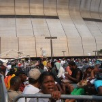 Survivors in cattle-like pens at the Superdome on 9.1.05 waiting to board buses