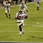 Saints #22 Tracy Porter returning the Super Bowl winning touchdown