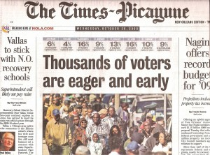 Times-Picayune Oct 2008 early Presidential voting