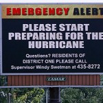 Hurricane Gustav emergency alert sign