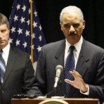 US Attorney General Eric Holder & US Attorney Jim Letten announcing the indictment of sis NOPD officers