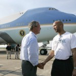 Pres. Bush and Mayor Nagin at New Orleans Louis Armstrong Airport