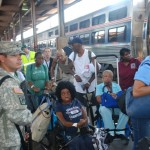 Gustav evacuees at the New Orleans Amtrak Station