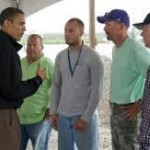 Pres. Obama speaking with Louisiana fishermen who were affected by the BP Gulf oil spill