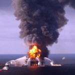 Deepwater Horizon oil platform on fire in the Gulf of Mexioco
